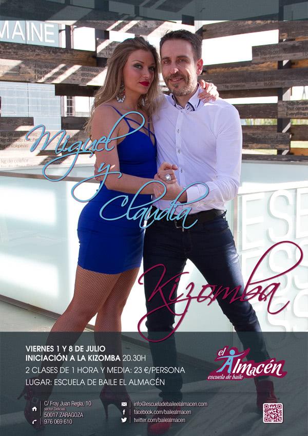 Cartel de la masterclass de kizomba iniciación de Miguel y Claudia